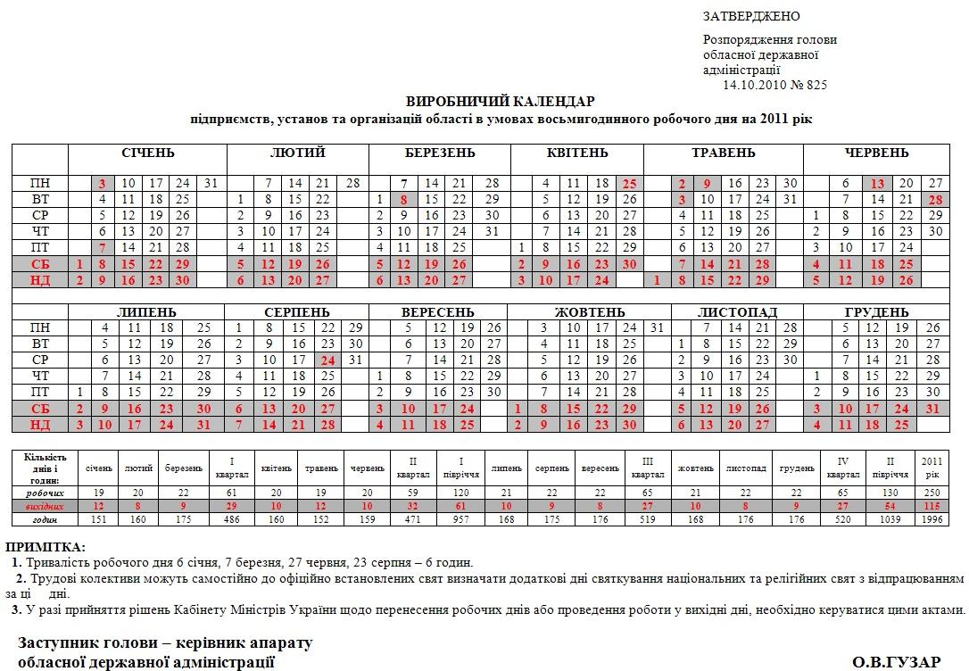 Виробничий календар на 2011 рік